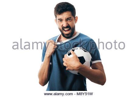 Ventilator oder Sport Player auf blauen Uniform feiern auf weißem Hintergrund - Stockfoto