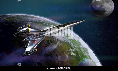 Raumschiff die Erde verlassen, Raumsonde zum Mond (3D-Illustration, Elemente dieses Bild von der NASA eingerichtet) - Stockfoto