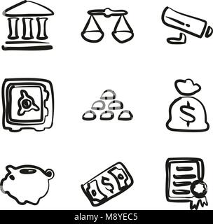 Bank Symbole Freehand - Stockfoto