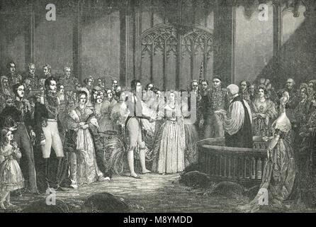 Hochzeit von Königin Victoria und Prinz Albert, 10. Februar 1840 - Stockfoto