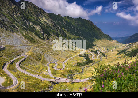Transfagarasan Highway, die wohl schönste Straße der Welt, Europa, Rumänien (Transfagarashan) - Stockfoto