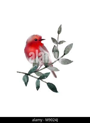 Kleines süßes Vogel auf Ast mit Blätter. Vektor flauschige Vogel. - Stockfoto