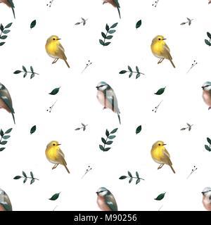 Nahtlose Muster mit Blättern und kleinen niedlichen Vögeln. Floral background. Vektor nahtlose Muster. - Stockfoto