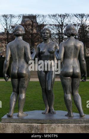Jardin des Tuileries. Aristide Maillol. Les trois Gnaden. Paris, Frankreich - Stockfoto