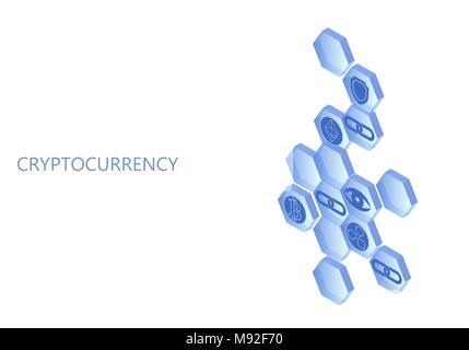 Blockchain blau isometrische Komposition. Flache glühende Hexagon zeichen Schutzplatte Bitcoin Astraleums Welligkeit Münze cryptocurrency Online Global 3d-Zahlung digitale Bergbau Vector Illustration - Stockfoto