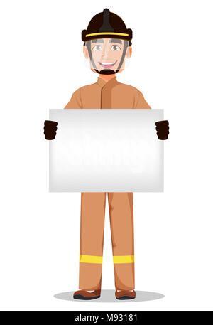 Feuerwehrmann in professionellen einheitlichen und sicheren Helm. Feuerwehrmann cartoon Charakter hält leeres Plakat. Vector Illustration auf weißem Hintergrund. - Stockfoto