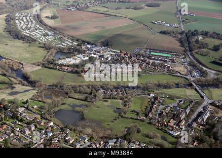 Luftbild der nordöstlichen Seite von Ripon rund um den Fluss Ure - Stockfoto