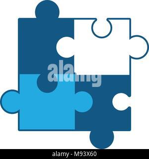 Puzzleteile Symbol auf weißem Hintergrund, blaue Schattierung Design. Vector Illustration - Stockfoto