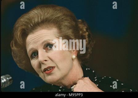Margaret Thatcher auf einer Pressekonferenz an der Cancún-Gipfel am 22. Oktober 1981. Foto von Dennis Brack - Stockfoto