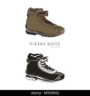 Jahrgang Hand gezeichnet Reisen Stiefel im Retro Stil, Farbe und Monochrom. Wandern schuhe Label, Grunge texturiert. T-Shirt mit Wandern Schuh, trekking Boot. Vektor Illustration isoliert - Stockfoto