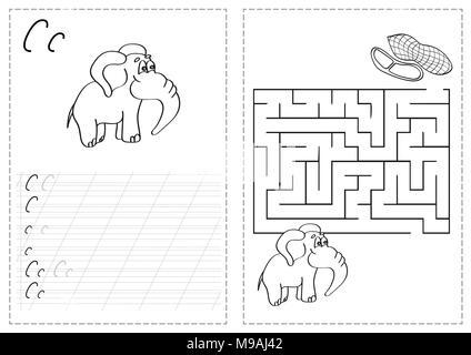 Cartoon Illustration der Schreiben Fähigkeiten üben mit dem ...