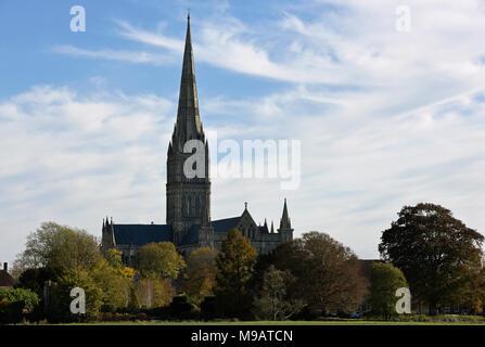 Die Kathedrale von Salisbury in herbstlichen Nachmittag Licht - Stockfoto
