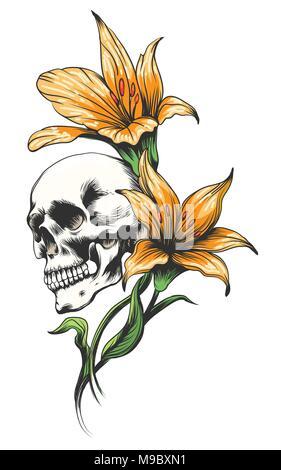 Schädel mit Gelben Orchideen gezeichnet Tattoo Stil. Vector Illustration. - Stockfoto
