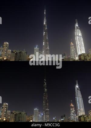 Dubai. 24 Mär, 2018. Die combo Foto am 24. März 2018 zeigt das höchste Gebäude der Welt Burj Khalifa vor (oben) und nach dem Licht gedimmt während der Earth Hour Veranstaltung in Dubai, Vereinigte Arabische Emirate (VAE). Credit: Mahmoud Khaled/Xinhua/Alamy leben Nachrichten - Stockfoto