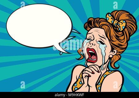Frau lustig schreit, viele Tränen - Stockfoto