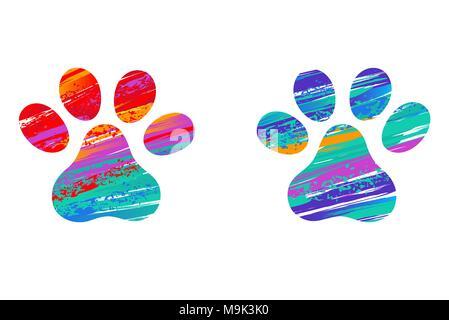 Zwei Katzen Pfotenabdrücke, mit Anschlägen der hellen Farbe auf weißem Hintergrund eingerichtet. Zeichnung zu malen. Cat's Paw. Pinselstriche. Pfotenabdruck. - Stockfoto