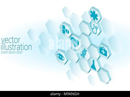 Hexagon medizinische Flachbild Icon Set. Krankenwagen innovation Medizin Zentrum poster Business Design Element. Isometrische 3D-abstrakte Komposition blau leuchtende vec - Stockfoto