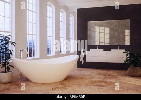 3D Rendering · Elegante Loft Bad Mit Hohen Fenstern Mit Blick Auf Ein  Modernes Boot Geformte Badewanne Und Doppelwaschbecken