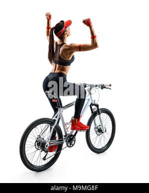 Sieger. Radfahrer reiten, das Fahrrad in Silhouette auf weißem Hintergrund. Dynamische Bewegung. Ansicht von hinten. Sport und eine gesunde Lebensweise - Stockfoto