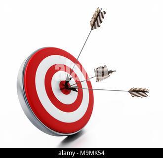 Pfeile drücken Sie rechts auf Ziel Bullseye. 3D-Darstellung. - Stockfoto