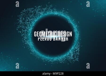 Geometrische plexus Banner des Fliegens geometrischen Partikeln auf einem schwarzen Hintergrund. Verbunden dreieckigen Elementen. Wissenschaftlicher Hintergrund für Ihr Design. Vec - Stockfoto