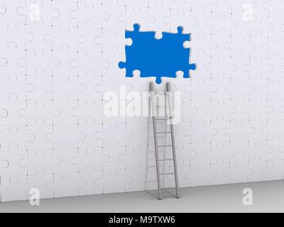 3D Leiter stützte sich auf Wand aus Puzzleteile mit einige Teile fehlen - Stockfoto