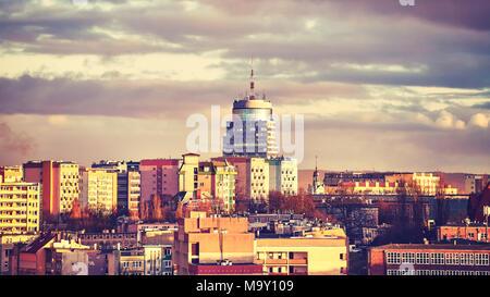 Stadt Stettin Skyline bei Sonnenuntergang, Farbe getonte Bild, Polen. - Stockfoto