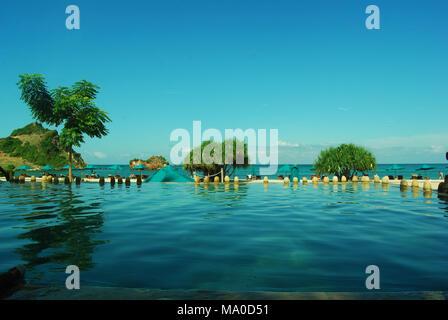 Panoramablick auf die schöne Strand von Kuta Lombok, West Nusa Tenggara, Indonesien, Asien. - Stockfoto