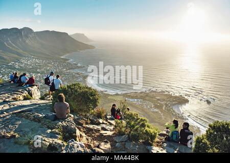 Auf dem Gipfel des Lion's Head in Kapstadt, Südafrika - Stockfoto