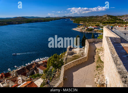 Kroatien, Dalmatien, Zadar, Krka, Blick von der Festung Sveti Mihovil - Stockfoto