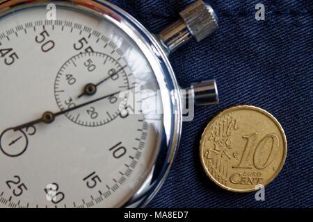 Euro Münze Mit Einer Stückelung Von 10 Cent Und Die Stoppuhr Auf