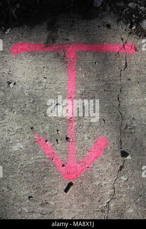 Der Tiefbau- und rosa Pfeil und Linie temporäre Markierungen mit Sprühfarbe zu umreißen. - Stockfoto