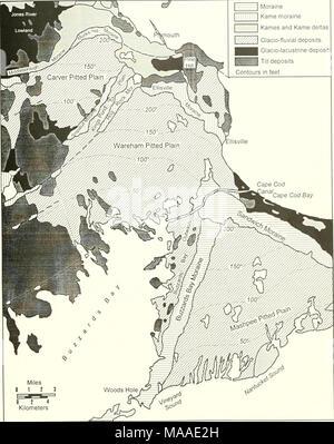 . Ökologie der Buzzards Bay: ein Ästuar- Profil. 0 2 4 Kilometer Abb. 2.2. Eiszeit geologische Karte anzeigen Endmoränen und sandurs des Plymouth-Buzzards Bay Area von der südöstlichen Massachusetts von Larson (1980). - Stockfoto
