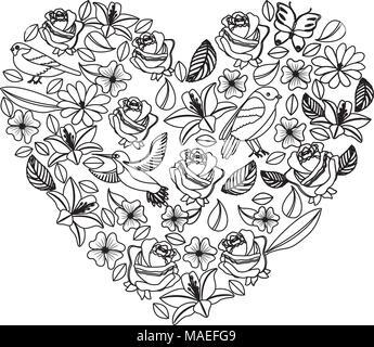 Natürliche Herz Muster mit Blumen und Vögel Schmetterlinge Blätter Vector Illustration - Stockfoto