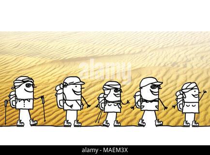 Cartoon Menschen Trekking in der Wüste - Stockfoto