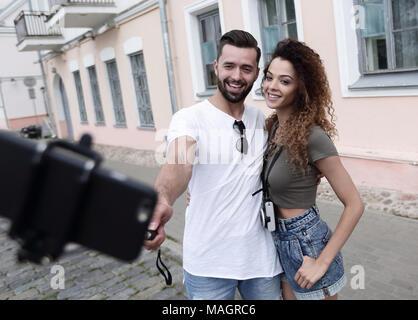 Happy Reisen Paar machen selfie, romantische Stimmung. - Stockfoto