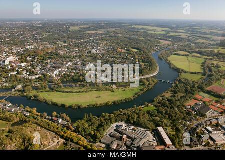 Luftaufnahme, Ruhr Promenade zwischen Innenstadt und Saar, Mülheim an der Ruhr, Ruhrgebiet, Nordrhein-Westfalen, Deutschland, Europa, Vögel-Augen-blick, aeri