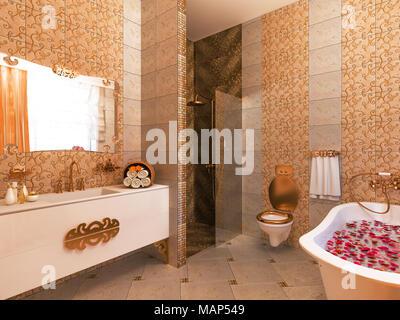 ... 3D Darstellung Eines Interior Design Von Einem Bad Im Klassischen Stil.  Die Freistehende Badewanne