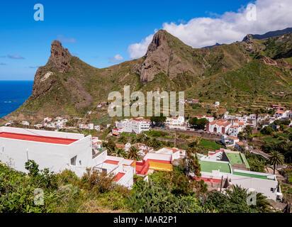 Taganana Dorf, Erhöhte Ansicht, Anaga, Teneriffa, Kanarische Inseln, Spanien, Atlantik, Europa - Stockfoto