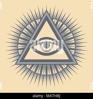 Alles sehende Auge Gottes (Das Auge der Vorsehung | Auge der Allwissenheit | leuchtende Delta | Oculus Dei). Mystische sakralen Symbol der Illuminaten und Freimaurer. - Stockfoto