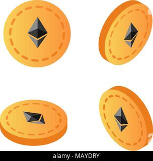 Isometrische 3d-astraleums cryptocurrency blockchain Flachbild-Symbol. Verwenden Sie für Logos, Drucksachen, Seite und web Einrichtung oder andere Design. - Stockfoto