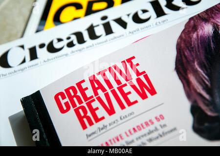 Die vorderen Abdeckungen von Creative Review Magazine mit verschiedenen drucktitel von Centaur Medien veröffentlicht und bei Creatives in Werbung und Design. - Stockfoto