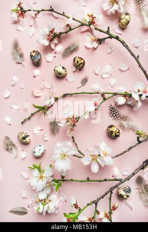 Ostern Hintergrund. Flachbild-lay von Ausschreibung Frühling Mandelblüte Blumen auf Ästen, Federn, Wachteleier über leicht rosa unterlegt, Ansicht von oben, ve - Stockfoto
