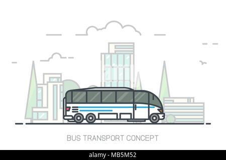 Touristische weißen Bus fahren auf Autobahn. Im städtischen Hintergrund, Wolkenkratzer und Gebäuden. Bus reisen Konzept mit weißem Hintergrund. Moderne Linie Vektor illu - Stockfoto