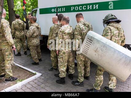 Samara, Russland - 27. Mai 2017: Special Forces Soldaten des Bundes Justizvollzugsanstalt Service der Russischen Föderation. Text in Russisch: FPS von Russland - Stockfoto