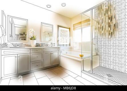 Benutzerdefinierte Master Badezimmer Design Zeichnen Mit Pinselstrich  Enthüllt Fertigen Foto.   Stockfoto
