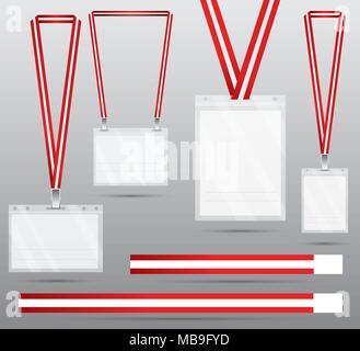 Rot Lanyard und Abzeichen. Vector Illustration. Id-Karte mit Lanyard, Zugang zu den Veranstaltungen. Sicherheit und Kontrolle. - Stockfoto