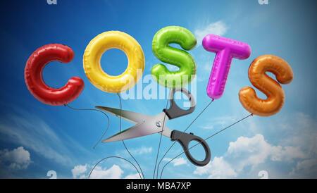 Schere schneiden Schreiben geformte Ballons Form das Wort kosten. 3D-Darstellung. - Stockfoto