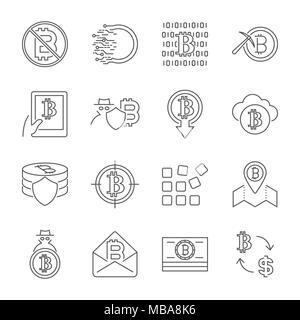 Blockchain Cryptocurrency Symbole. Moderne Computer Netzwerk Technologie Zeichen gesetzt. Digitale grafische Symbol Collection. Bitcoin Bergbau. Konzept Design Elemente. - Stockfoto