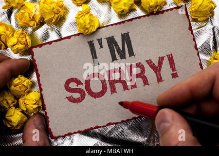 Konzeptionelle Hand schreiben, tut mir Leid. Business foto Präsentation entschuldigen Gewissen fühlen sich bedauernd Entschuldigte reuigen Traurig von Menschen geschrieben - Stockfoto